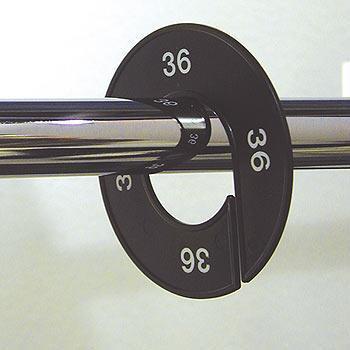 Ringscheibe / Größenkennzeichnung schwarz mit Silberprägung