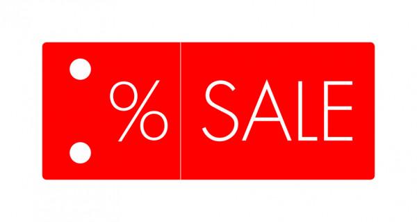 """Bügelfahne """"%-Sale"""""""