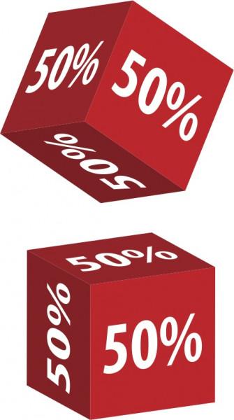 Würfel 50 %