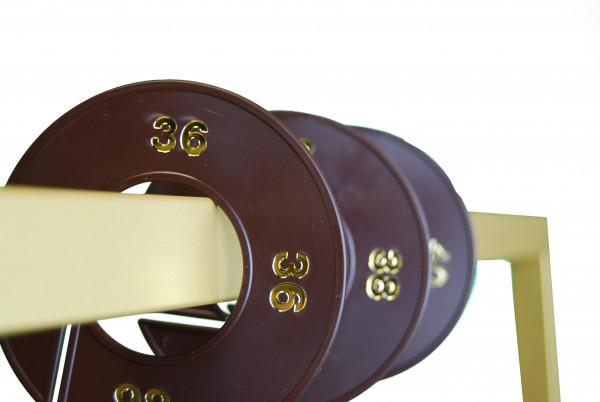 Ringscheibe / Größenkennzeichnung braun mit Goldprägung